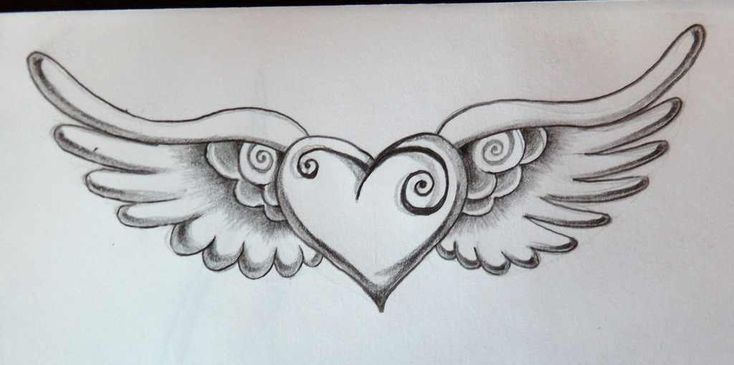 Heart with wings tattoo, would get it on the back of my neck