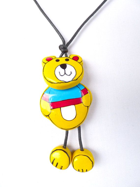 Cute kids necklace, bear pendant, vintage bear necklace, wooden pendant, painted bear, unique gift for girl, two sided pendant