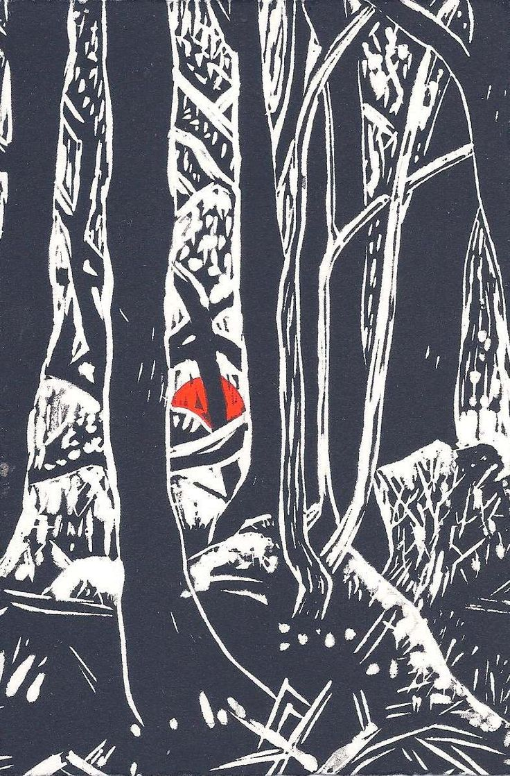 """Liz Norris """"Gold Diggings, Wombat Forest"""" Linoprint and Hand Colour $40"""