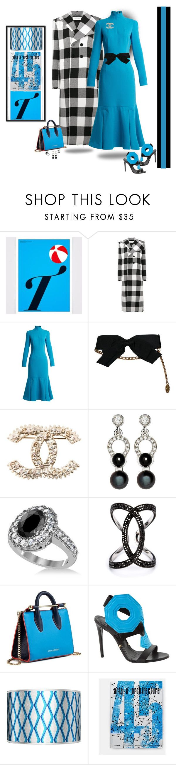 """Favorite color combination"" by deborah-518 ❤ liked on Polyvore featuring Marques'Almeida, Emilia Wickstead, Chanel, Nathalie Jean, Allurez, Kristin Hanson, Strathberry, Gianmarco Lorenzi and Giclee Gallery"