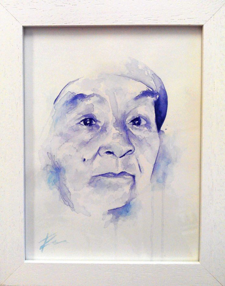 Fazlin's grandmum, watercolour portrait by Tasneem Kamies for KIN on Kloof's Mother's Day window exhibition  For more info on this exhibit- http://bit.ly/1rBb0yS  kinshop.co.za - growing local art & design