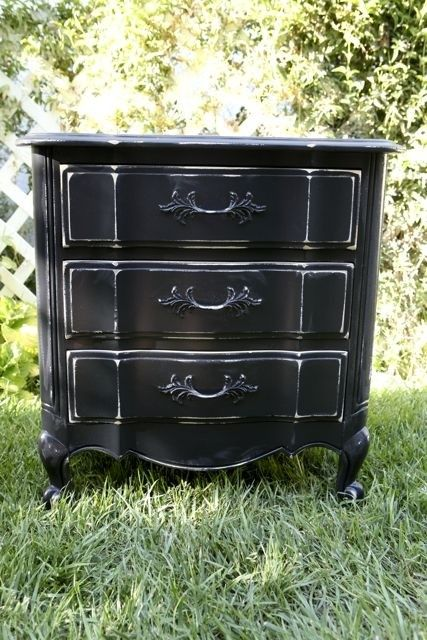 Black Shabby Chic Style \/ Paris Chic Mini Dresser \/ Large Nightstand --- NEW