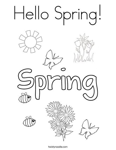 Hello Spring Coloring Page Twisty Noodle Spring