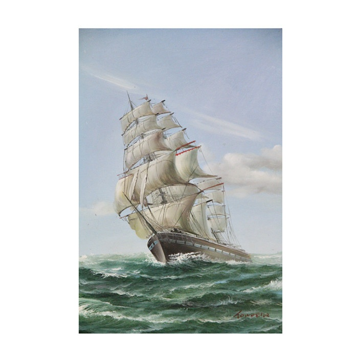 Vintage Old Frigate Ship Painting