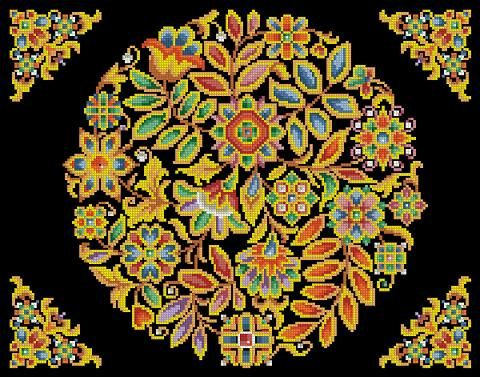 Cross Stitch Antique Tapestry Folk Art Floral Round Décor Multicolored Design Pattern PDF