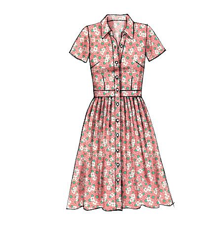 M6696 Dresses have collar, collar band, self-lined yoke back, close-fitting bodice, and band. A: carriers, purchased belt. #shirtdress #mccallspatterns