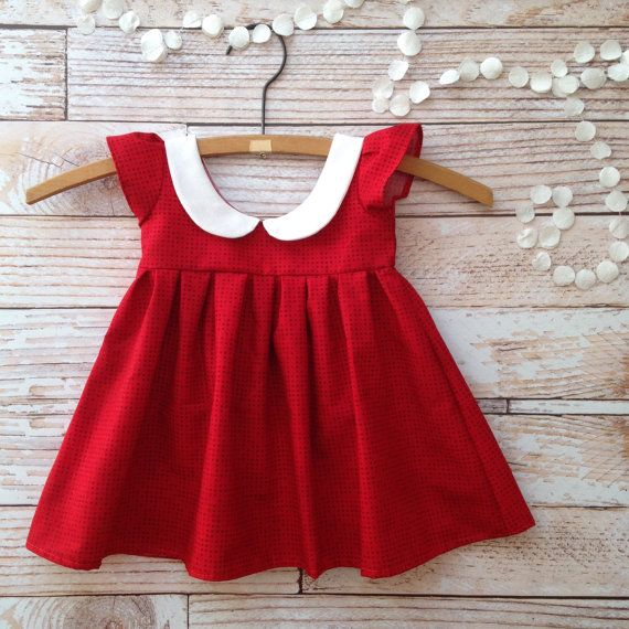 Baby girl dress 6 month photo outfit girl little girl dress gift baby girl dress kids Peter Pan collar half birthday dress red size 6m 12m