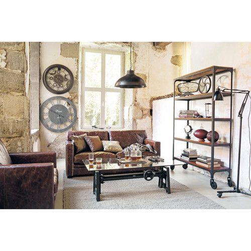 canap 3 4 places en cuir marron maisons du monde mdm indus pinterest industriel. Black Bedroom Furniture Sets. Home Design Ideas