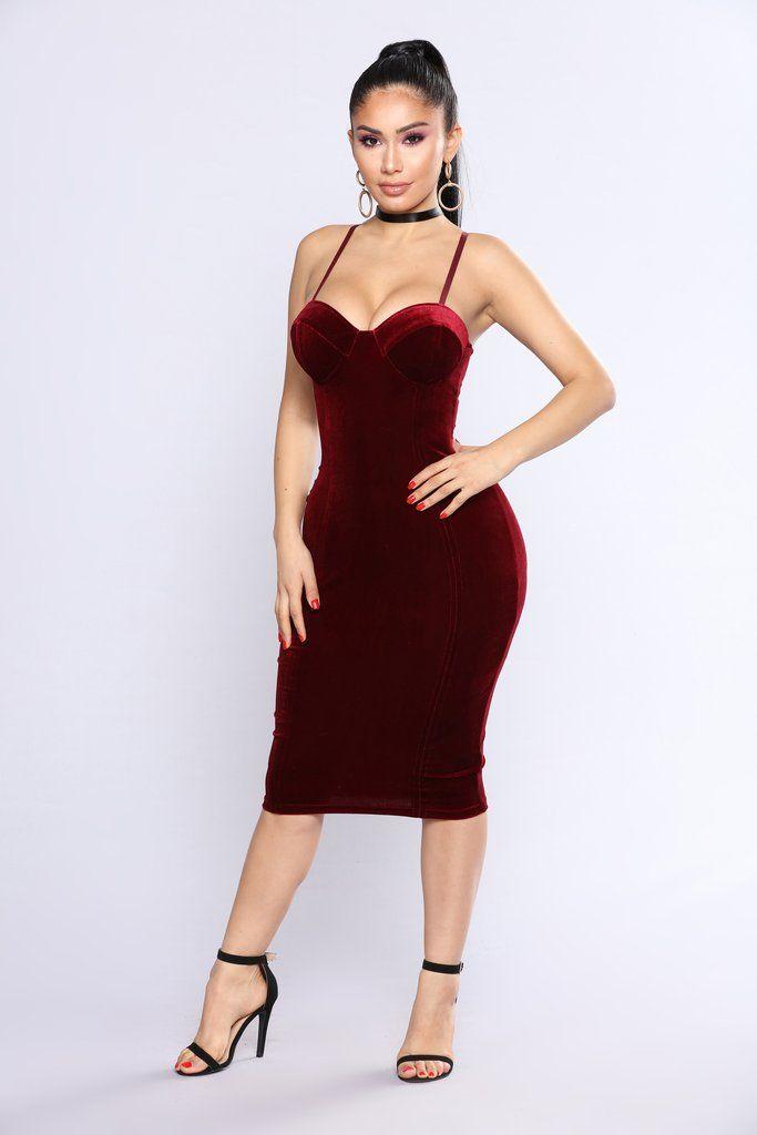 61a160d8739 Celeste Velvet Dress - Burgundy
