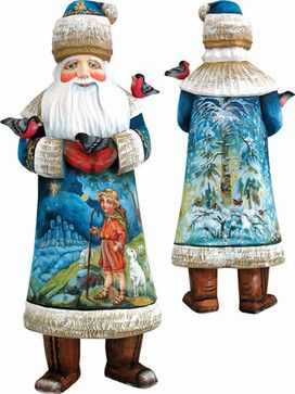 Artistic Wood Carved Santa Claus and Shepherd Boy Sculpture traditional-holiday-accents-and-figurines