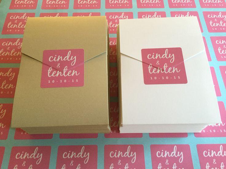 wedding invitation, jumbo pocket envelopes, gold, pink, vinyl stickers