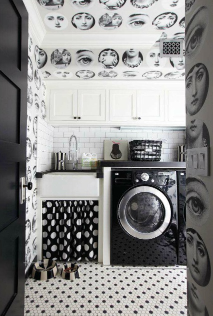 Fornasetti wallpaper, really loving it although it might freak me out at night time with all the eyes!