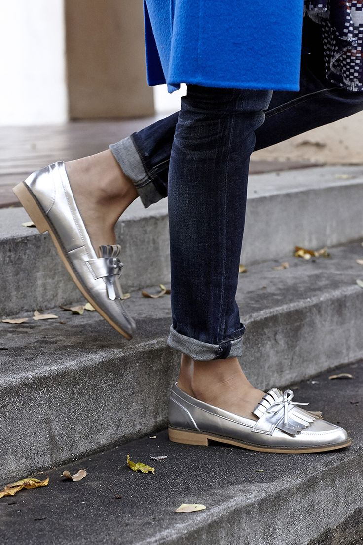 Timeless silver loafers with fringe & bow details | Sole Society Huxley