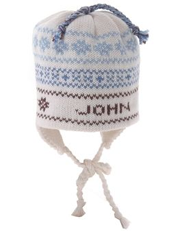 Our best selling baby gift! Personalized hand knit name hat in ivory with light blue, dark blue and chocolate brown.  100% cotton with ear flaps and a tie to keep it on the little one's head! Makes an ideal sibling gift too! Now offered in 6-8 year size without earflaps and tie!