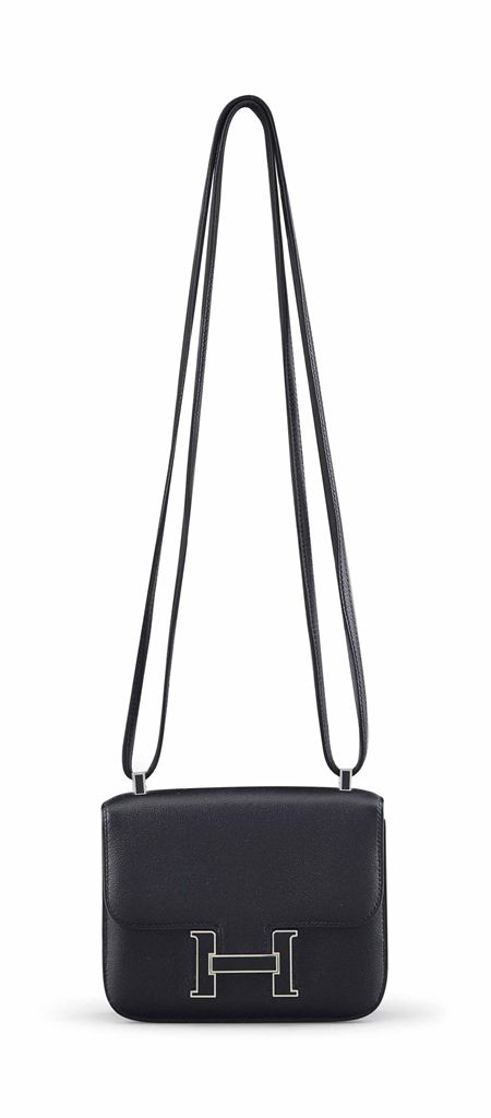 A BLACK SWIFT LEATHER MICRO MINI CONSTANCE BAG WITH PALLADIUM & ENAMEL HARDWARE