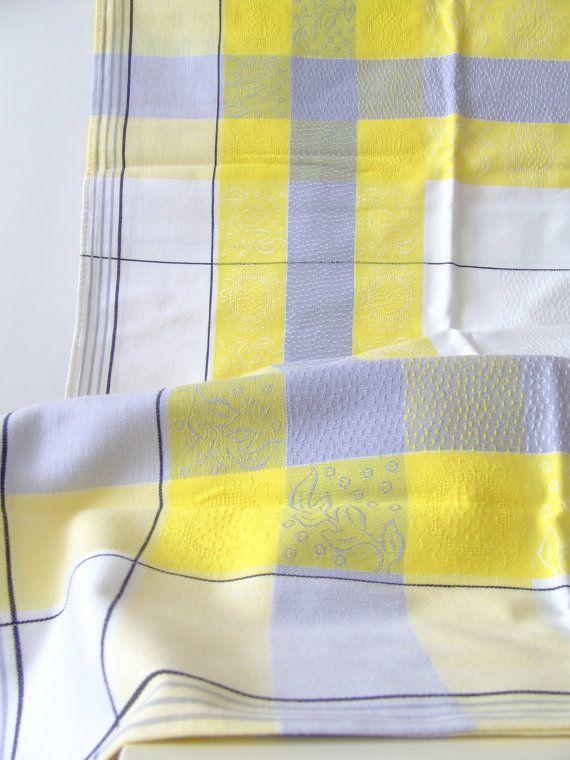 50s Scandinavian tablecloth  damask  white by thelittleblackhouse, $15.00