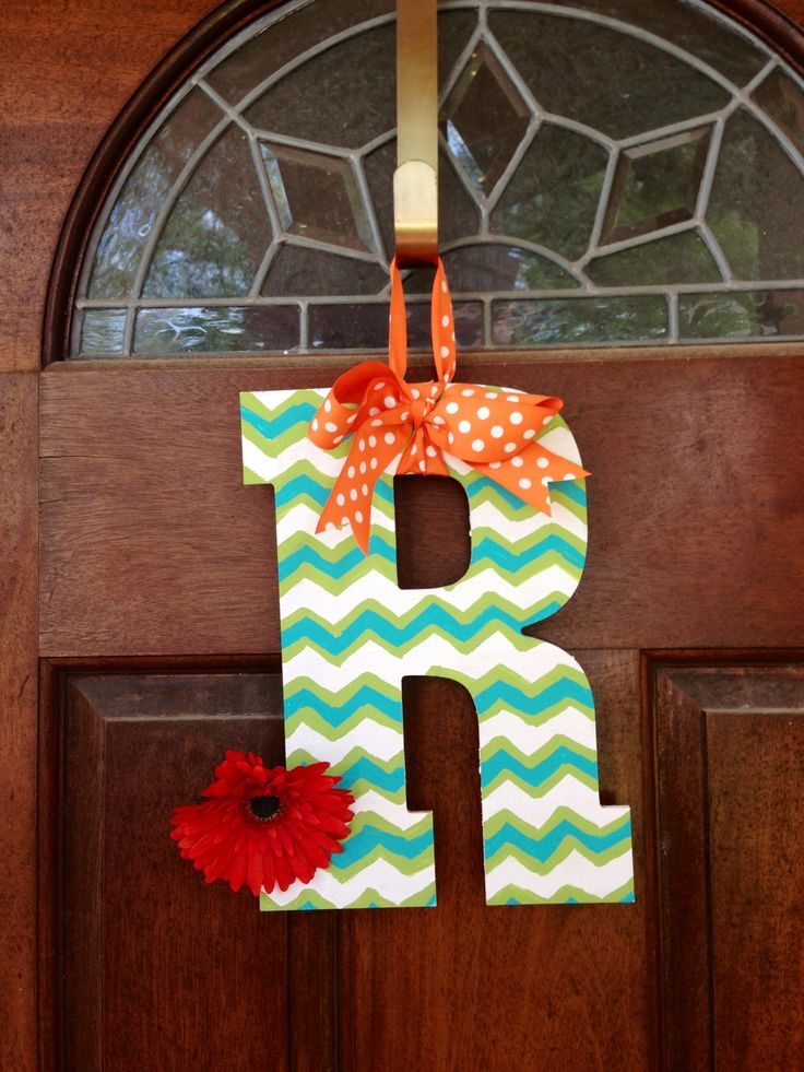 chevron painted wooden letter love this for the front door