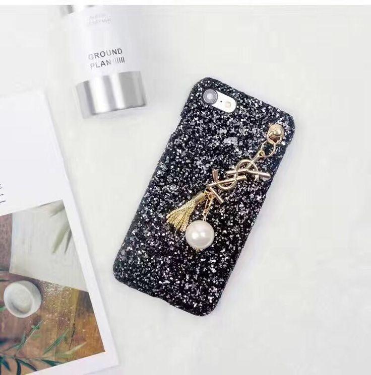 YSL iphone7ケース ゴールドロゴ キラキラ 真珠付き 黒い 赤いiphone6s/iphone6splus ケース彼女プレゼント おしゃれ
