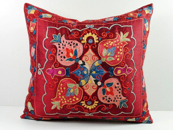 Vintage Hand Embroidered Uzbek Suzani Pillow MSP4_20