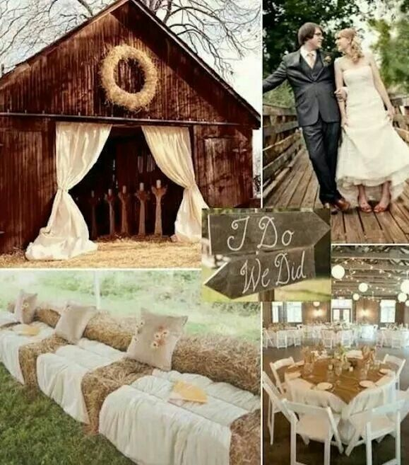 Hay bales seats for 10th anniversary vows!