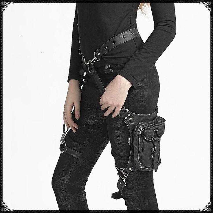 Carteras mujer Кожа Пара Панк Готический Сумка Мужчины женщины Кожаный Мешок Талии Пакеты Женщины сумка мода сумка нога купить на AliExpress