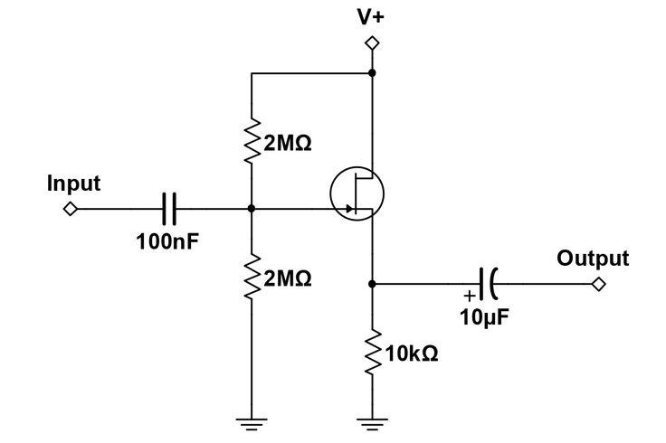 JFET Buffer Voltage Divider Bias