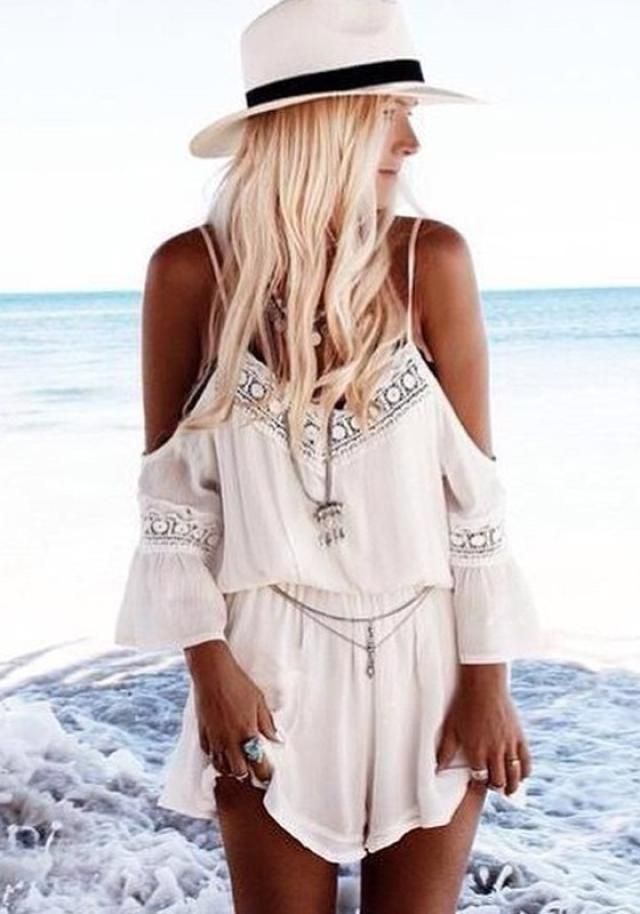 10 Rompers That Need to Live In Your Closet, STAT: White Patchwork Lace Boho Style Off-The-Shoulder Short Jumpsuit