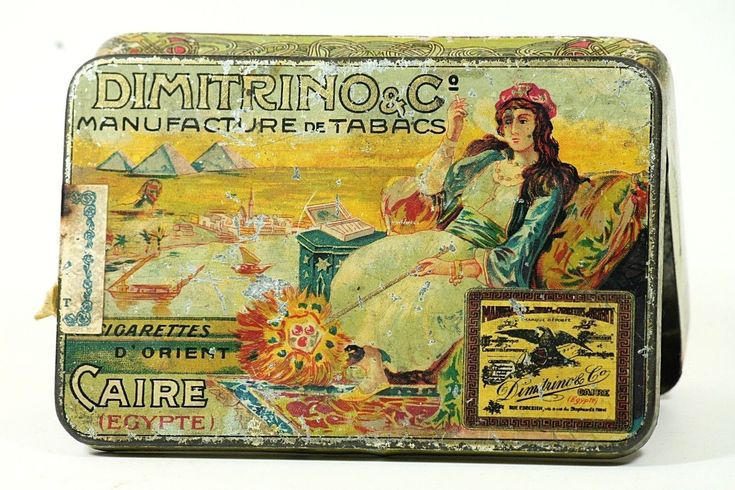 Vintage - Egyptian Orient Cìgarettes Tin DIMITRINO Luxor - Smoking Lady - 1910's | eBay