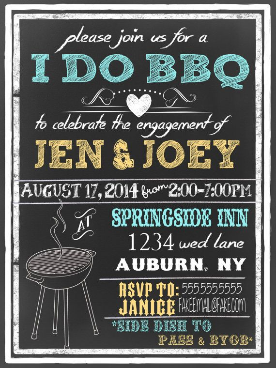 Modern I Do Bbq Invites Engagement Party Invitations Unique BBQ Yellow Parge Bw ID INVIDO01