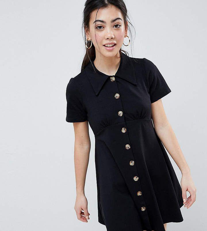 asos design petite polo shirt dress with faux tortoiseshell buttons