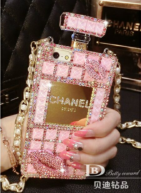 Classic Chanel Perfume Bottle Crystal Case Red lips Diamond Cover for ...