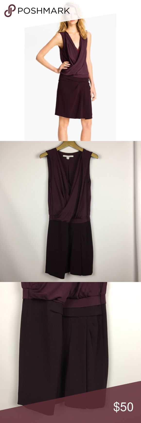 """DVF Daran Silk Faux Wrap Cocktail Dress \\ Sz 6 DVF Diane Von Furstenberg """"Daran"""" dress Size 6 Plum color Silk upper, triacetate blend skirt Gently preowned with light signs of wear - a couple minor pulls  15.5 inches across waist 20 inches across hips (slightly loose fit) about 38 inches in length Diane Von Furstenberg Dresses"""