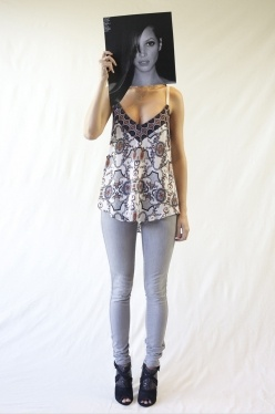 Limited edition cream royale print camisole with curved hem.     100% silk