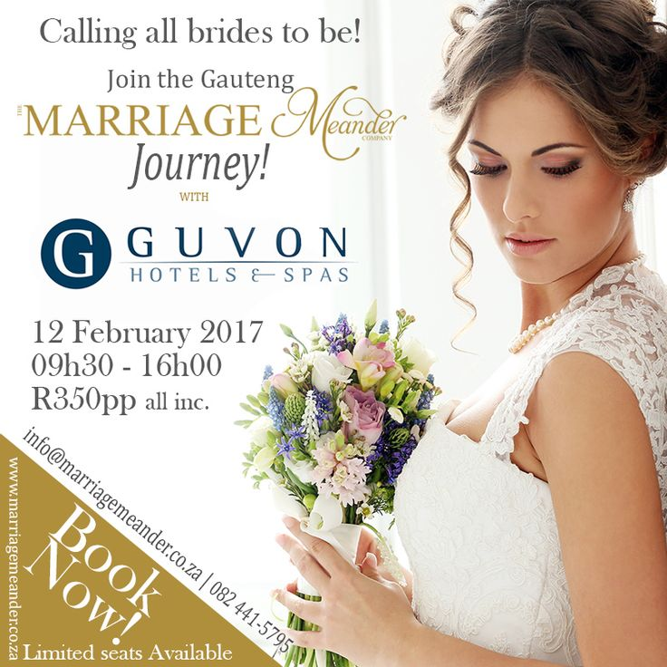 Celebrate the month of love in February with Marriage Meander Gauteng as we plan to embark on another one of our classic Journeys… This time with the Guvon Hotels & Spas Group. Enjoy a day of fun-filled wedding planning.   Facebook event page http://bit.ly/2enUgBi or visit our website http://bit.ly/2dPdxso  Or email info@marriagemeander.co.za to book your seat on the coach. #MarriageMeander #Journey #Weddingplanning