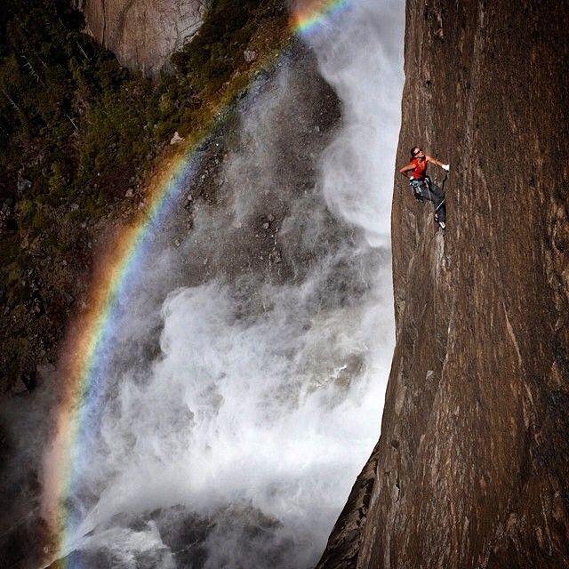 Kate Rutherford above Yosemite Falls, Californiaphoto: Jimmy Chin