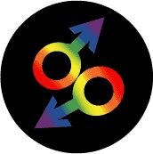 Rainbow Male Gender Symbols--Gay Pride Rainbow Shop BUTTON