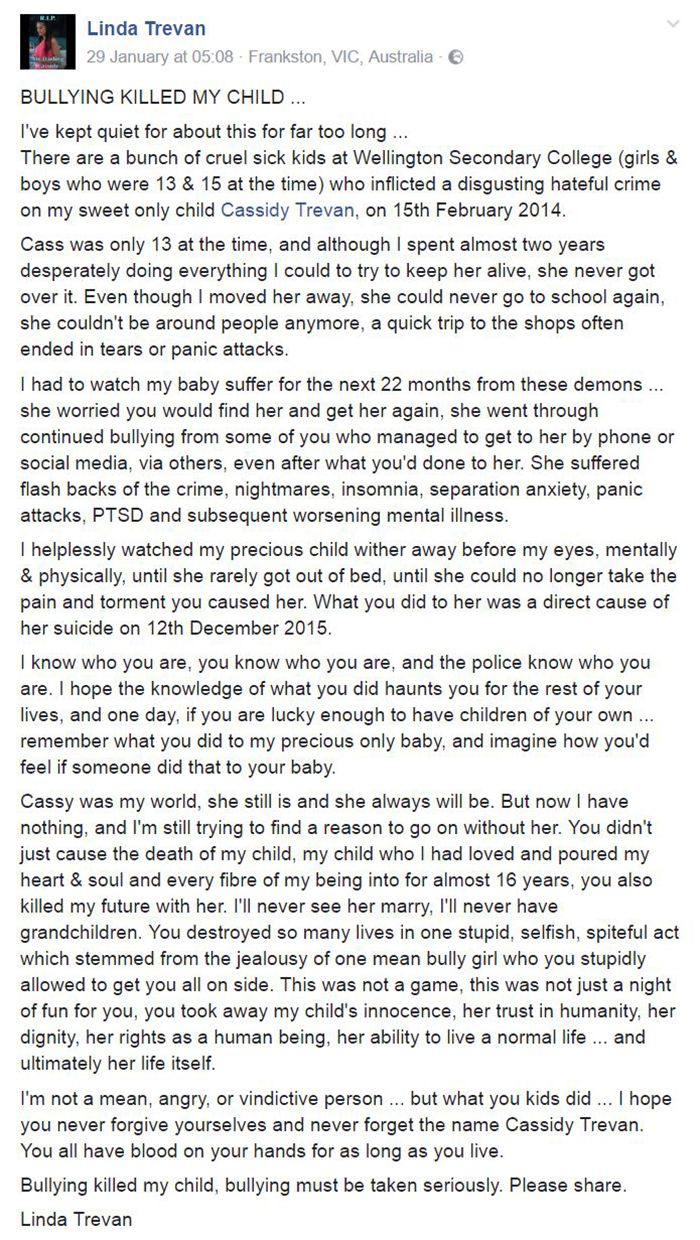 images about teen angst bullying cyber bullying on last month ms trevan shared her daughter s tragic story on facebook in hopes of bringing