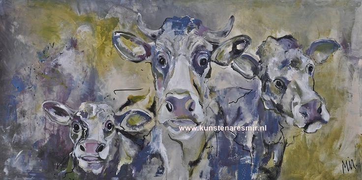 Schilderij Hollandse koeien Painting dutch cows size 70x140x4cm Veelzijdig kunstenares Mir #art #kunst #painting #cows #koeien #koeienkunst #koeienschilderij #schilderij #acrylpainting #natuur #nature #kalf
