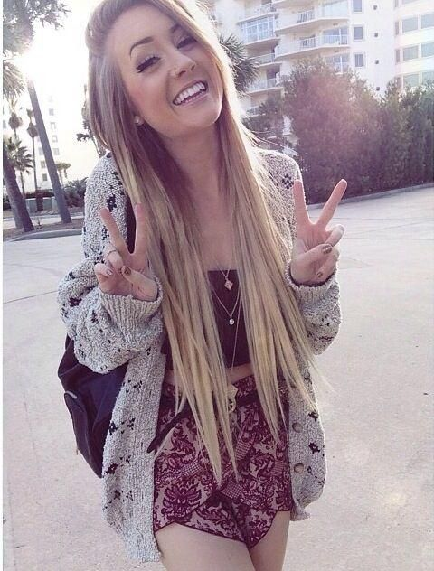 Cute spring outfit and straight hair, brown to blonde.