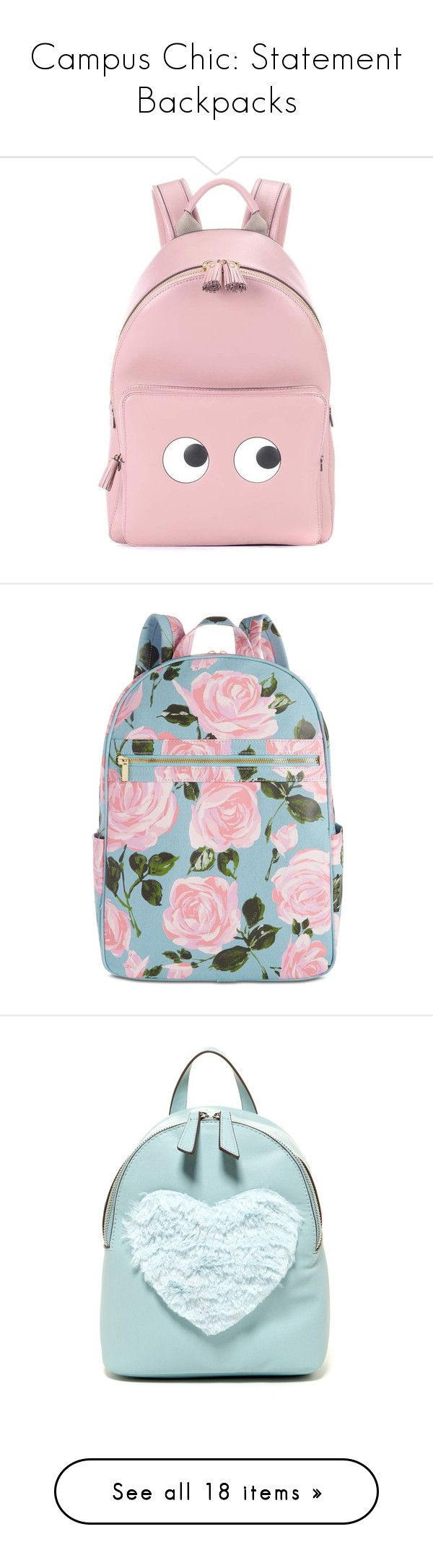 """""""Campus Chic: Statement Backpacks"""" by polyvore-editorial ❤ liked on Polyvore featuring statementbackpacks, bags, backpacks, backpack, pink, anya hindmarch, day pack backpack, leather daypack, mini bag and genuine leather backpack"""