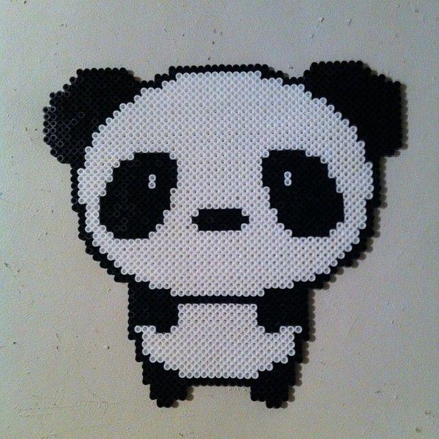 Cute panda bear perler beads by stilyagi