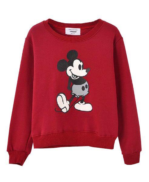 Mickey Pattern Raglan Sleeves Cotton Sweatshirt