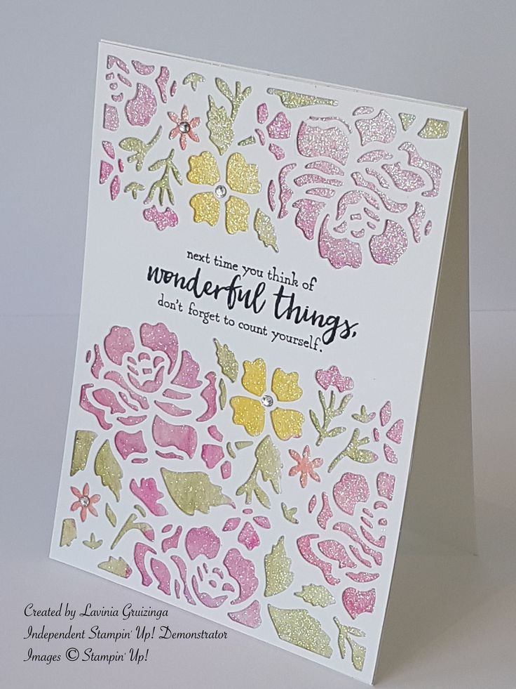 Stampin Up Detailed Floral Thinlits dies, watercolour pencils, sentiment from Just Add Text. iridescent ice ep