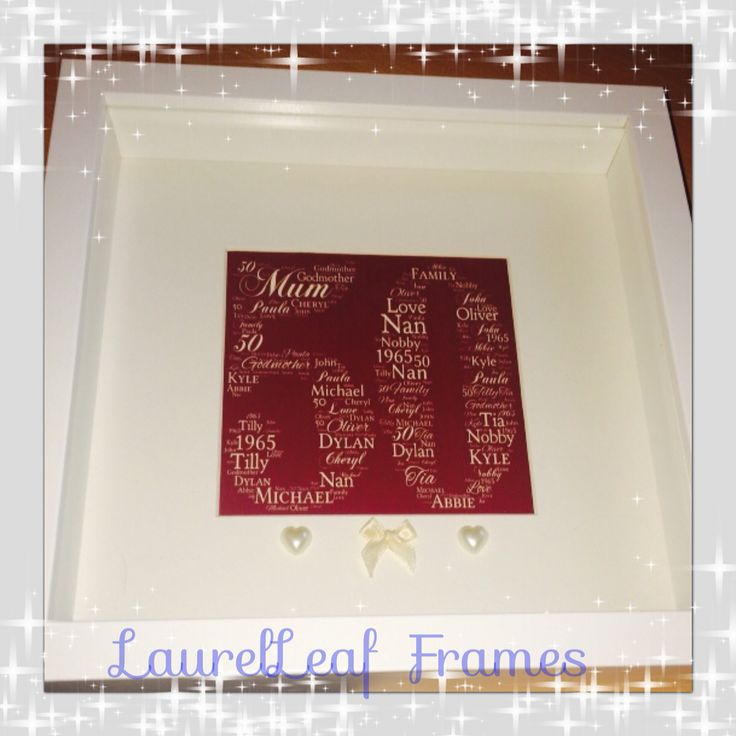 50th birthday box frame  Burgandy and cream