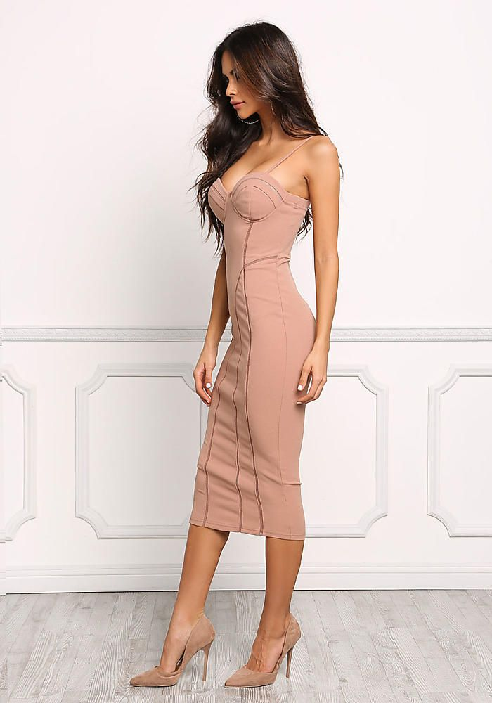 Nude Bustier Mesh Trim Bodycon Dress - Going Out - Dresses