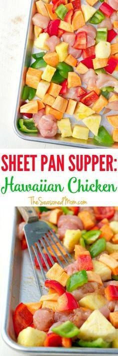 This Hawaiian Chicke This Hawaiian Chicken with Sweet Potatoes...  This Hawaiian Chicke This Hawaiian Chicken with Sweet Potatoes Peppers and Pineapple is an easy dinner that cooks entirely on one tray! Its a healthy Sheet Pan Supper that the whole family will love  with only a few dishes to wash at the end! Recipe : http://ift.tt/1hGiZgA And @ItsNutella  http://ift.tt/2v8iUYW