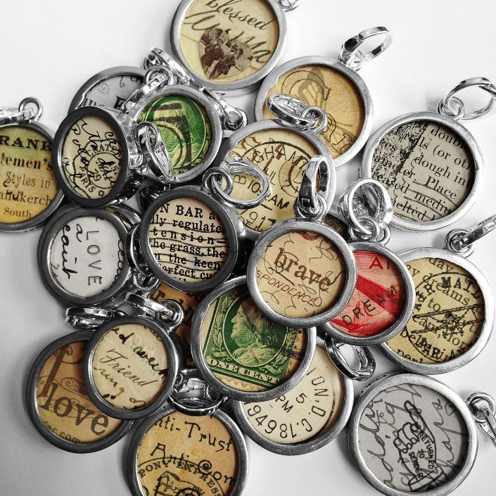 Image result for old letter trapped in resin jewelry