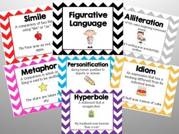 "These figurative language posters feature the definition as well as an example of a simile, metaphor, hyperbole, idiom, alliteration, personification, and onomatopoeia. These are great to display in your classroom as a reference for students!  Printing Tip: When printing, click print to ""actual size"" if you don't want the larger white borders around the poster."