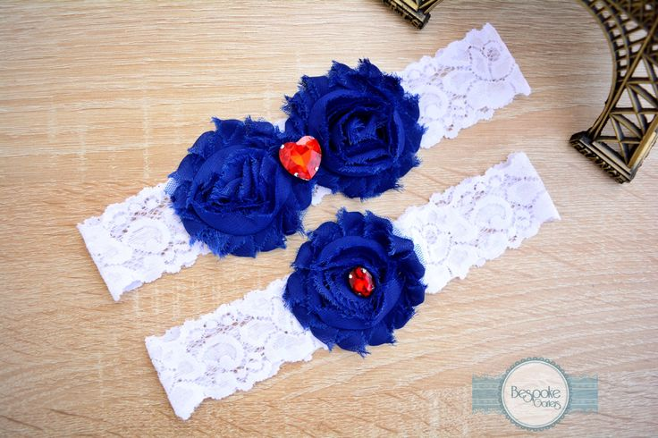 Wedding Garter, Lace Garter, Lace Wedding Garter, Wedding Garter Set, Garter, Rhinestone Garter, Custom Garter, Blue Garter, White Garter by BespokeGarters on Etsy