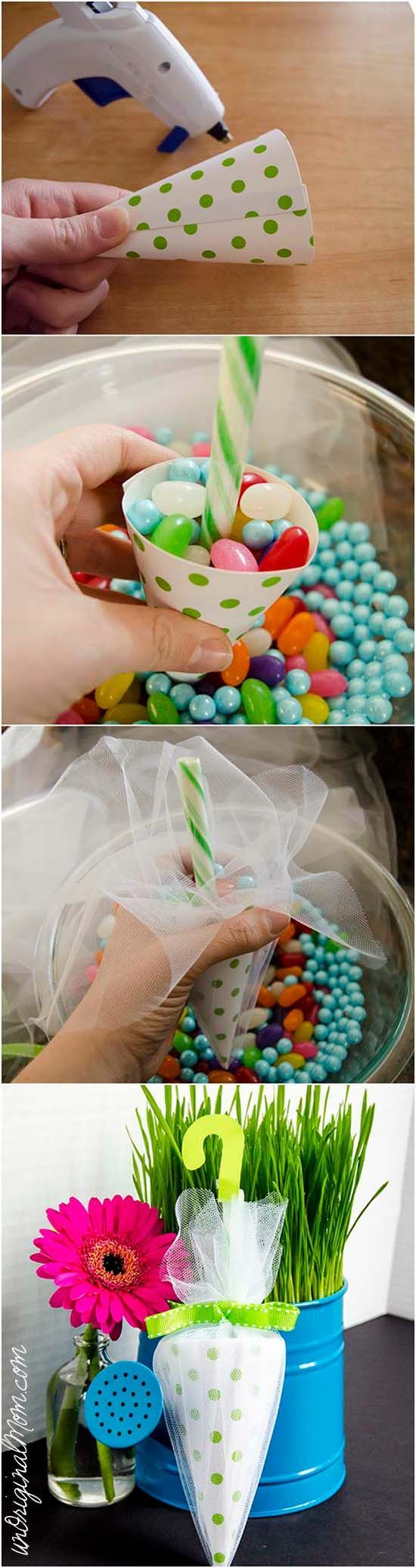 Candy Umbrella Shower Favors - perfect for a rain or umbrella themed baby shower or bridal shower!